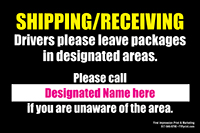 """18"""" x 24"""" Shipping/Receiving Sign Metal with custom contact info area"""