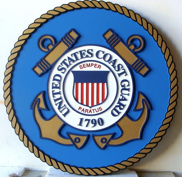 NP-1160- Carved Plaque  of the Great Seal of the US Coast Guard, 2.5-D Artist Painted