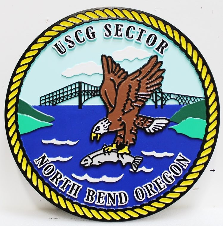 NP-2142 - Carved 2.5-D Relief HDU Plaque of the Crest of the US Coast Guard Sector North Bend Oregon