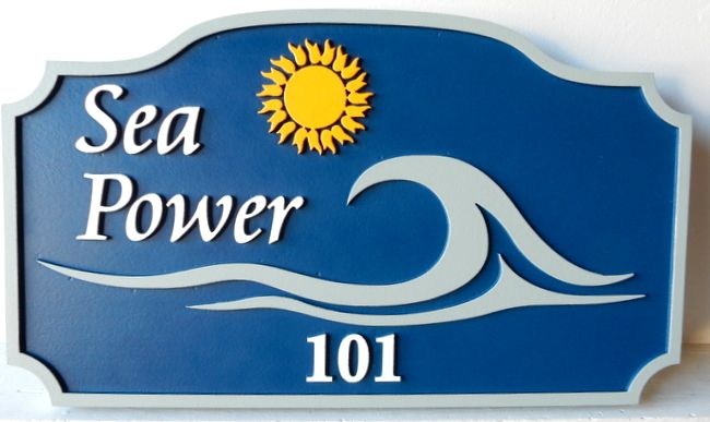 "L21162 - Address Sign for ""Sea Power "" Beach House with Stylized Sun and Surf"