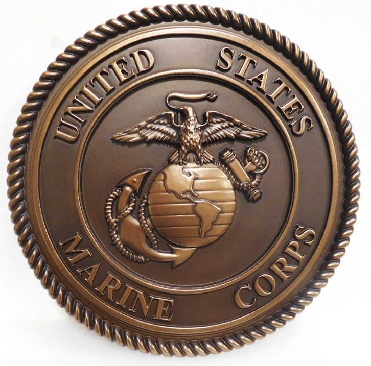 KP-1130 - Carved Plaque of the Emblem of the US Marine Corps, 3D  Bronze-Plated