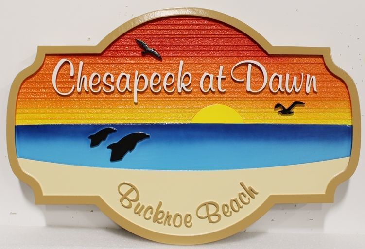 "L21206 - Carved and Sandblasted 2.5-D Multi-level relief HDU Beach House Name Sign ""Chesapeake at Dawn"", with Rising Sun over Ocean Dolphins, and Beach as Artwork"