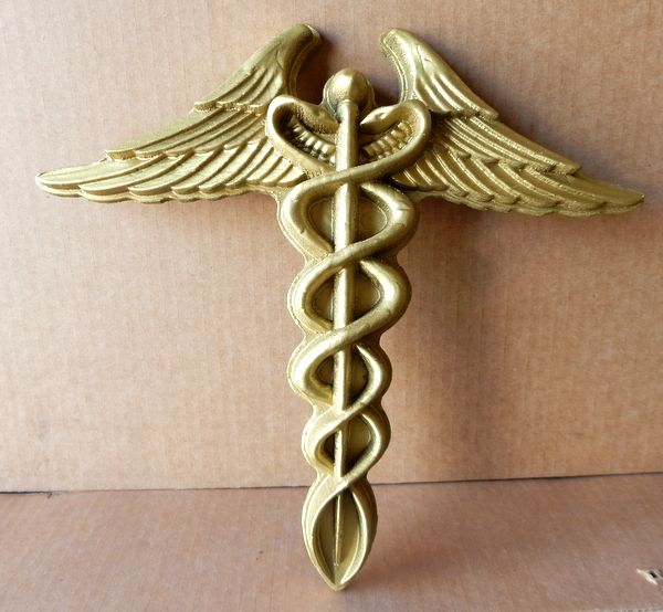 B11058 - Carved 3D Caduceus Painted in Gold Metallic Paint