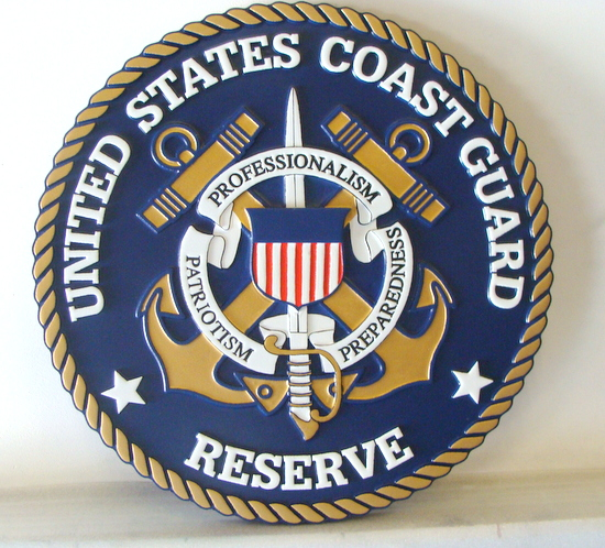 NP-1320- Carved Plaque  of the Great Seal of the US Coast Guard Reserve, Artist Painted