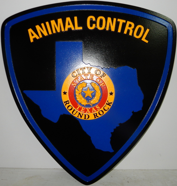 X33406 - Carved 2.5-D Wall Plaque of the Shoulder Patch of The Animal Control   Department of Round Rock, Texas