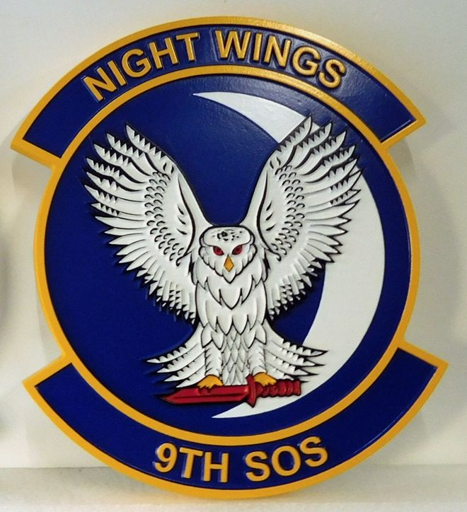 """LP-3700 - Carved Round Plaque of the Crest of the 9th Special Operations Squadron """"Night Wings"""", Artist Painted"""