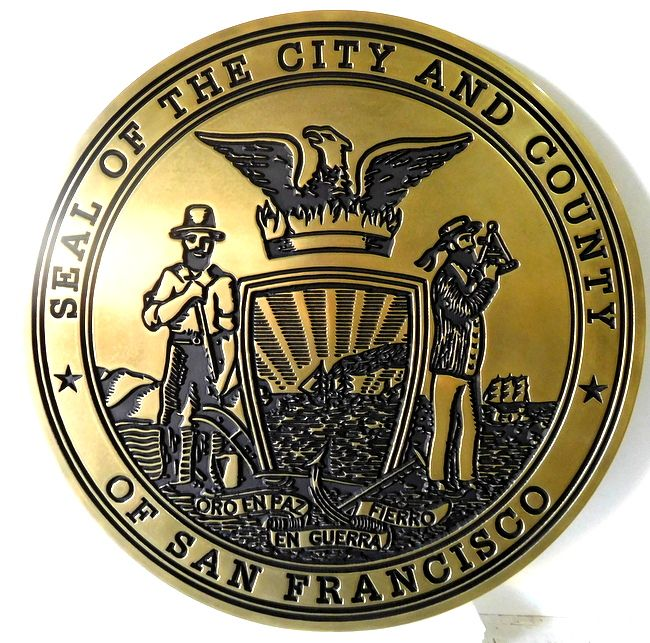 X33161 - Carved Brass Wall Plaque of the Seal of the City of San Francisco (Version 2)