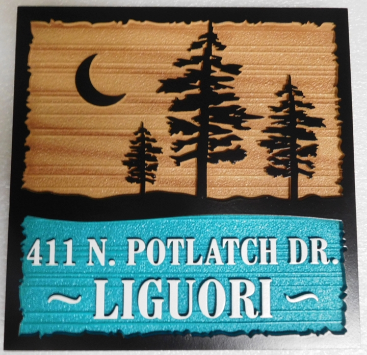 "M22065 - Carved and Sandblasted HDU Cabin Address and Name Sign ""Liquori"" with Pine Trees and Moon as Artwork"