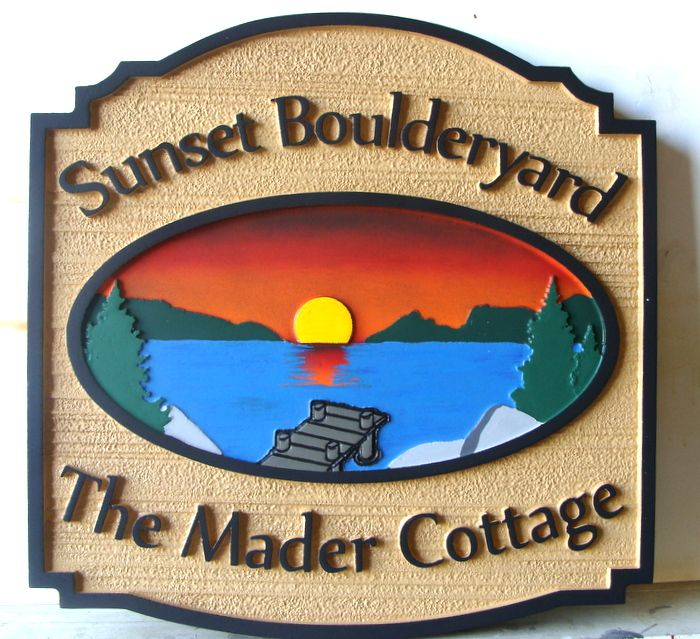 "M22302 - Lake Cottage Property Sign ""Sunset Boulderyard"", with Dock and Sunset for Lake/Mountain Scene"