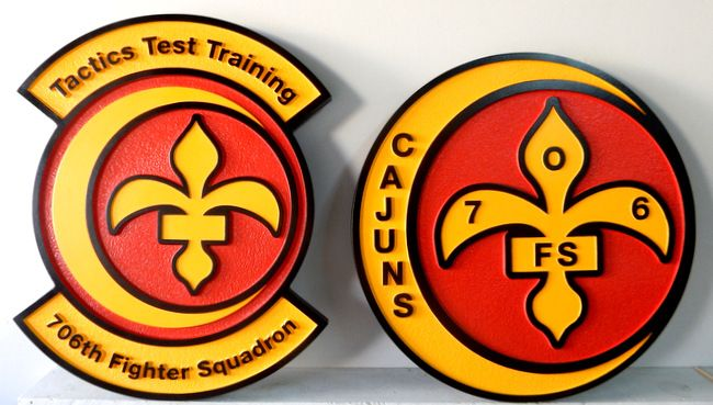 V31613 - Wall Plaques of the Crest for the 706th Fighter Squadron, US Air Force,