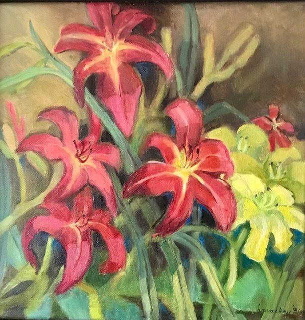 Flower painting is by Red Lodge artist Helen Mackay.
