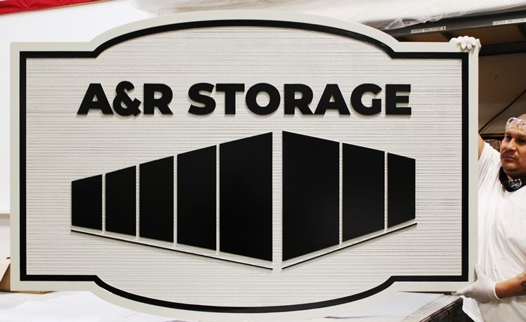 S28183 - Carved 2.5-D and Sandblasted Wood Grain HDU Sign for A & R Storage