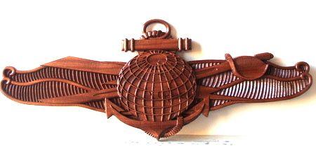 V31280- Carved Mahogany Emblem for USN Special Forces