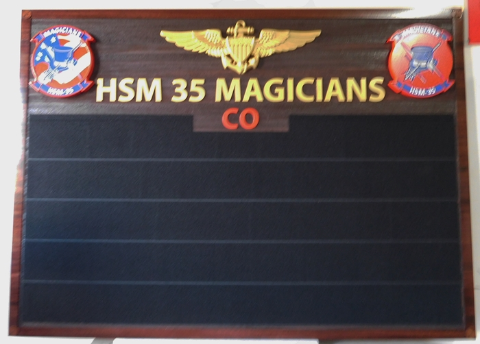 JP-1675 - Carved Post Board for Air Force HSM 35 Magicians, Cedar Wood