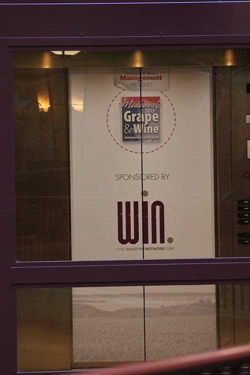 Adhesive Removable Elevator Door Graphic Midwest Grape & Wine Show signage