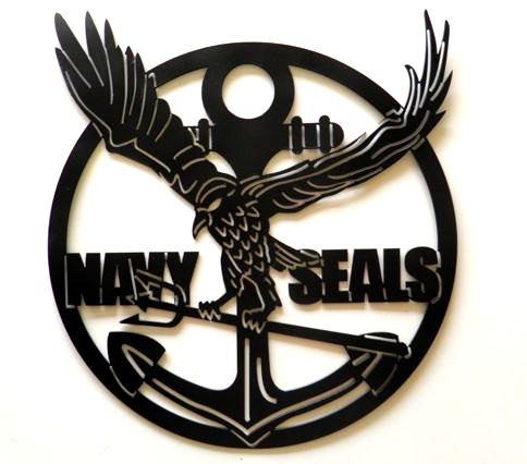 M7610 - Wrought Iron Navy SEAL Plaque, with Eagle and Anchor