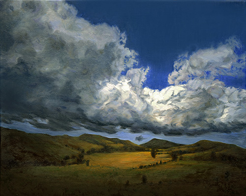 "Billowing Clouds Go By and By, oil on linen, 12"" x 16"""