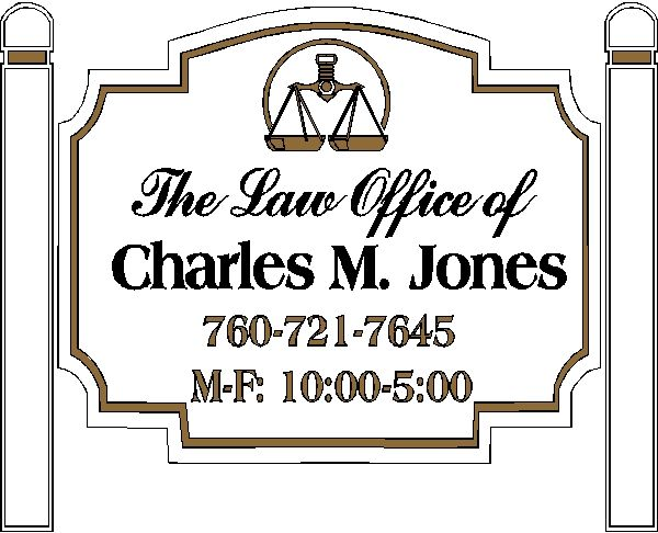 A10160 - Carved Wood Law Office Sign with Side Posts