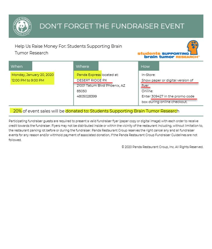Panda Express Fundraiser 1/20/2020