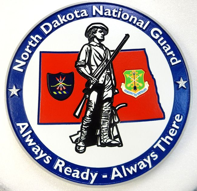 V31749 - Carved Crest Wall Plaque for the North Dakota National Guard, with Minuteman
