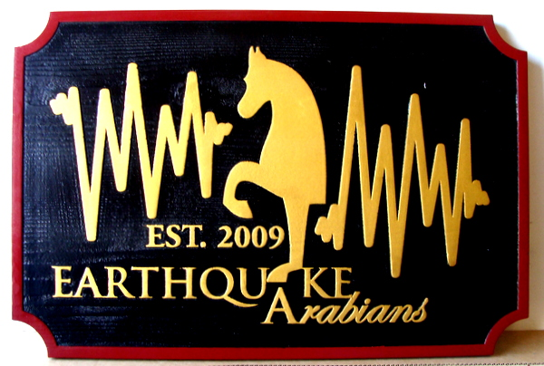 "P25102 - Carved Cedar Entrance Sign for ""Earthquake Arabians"" Equine Farm"