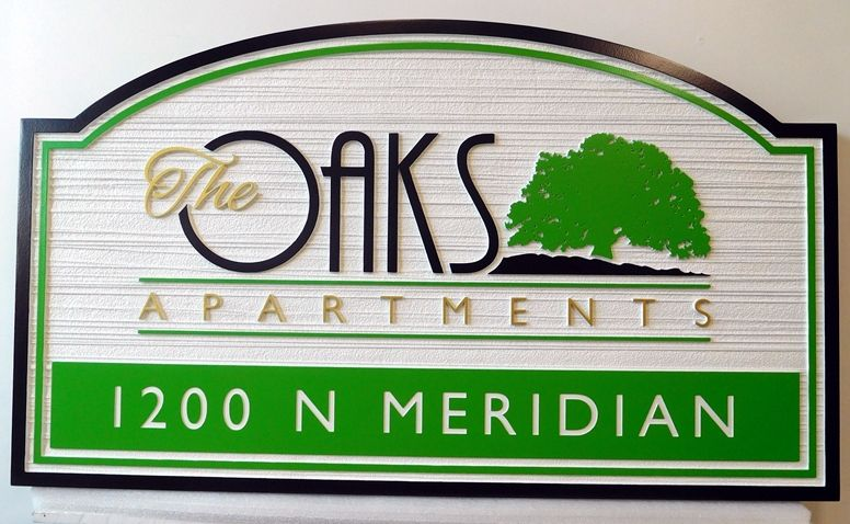 "K20164 - Stylized  Carved HDU sign  Entrance Sign for  ""The Oaks"""" Apartment Complex., 2.5D and Sandblasted  Wood Grain Background"