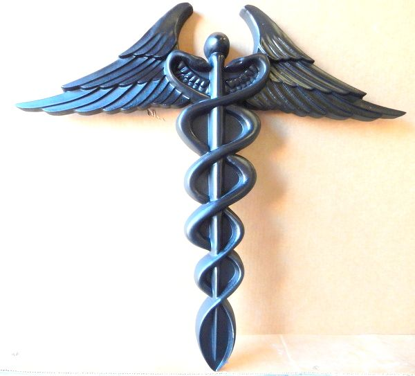 B11059 - Carved, Painted 3D Caduceus To Be Mounted on Sign or Plaque