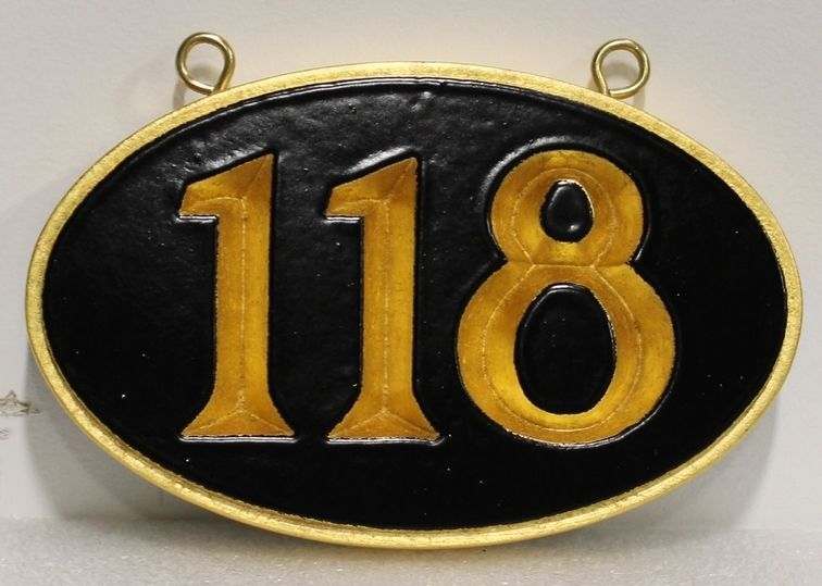 KA20924 - Carved High-Density-Urethane (HDU) Unit NumberSign. featuring  Prismatically Carved Text and 24K Gold-leaf Gilded  Border