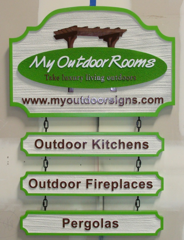 SA28690 - Sign for Outdoor Rooms Conxstruction:with Three Hanging Rider Signs
