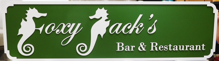 "Q25131 - Carved  Sign for the ""Foxy Jack's""  Bar & Seafood Restaurant, with Seahorse as Art"