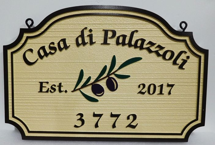 "I18252 - Carved Property Name Sign,""Casa de Palazzoli"", with Olive Branch as Artwork"