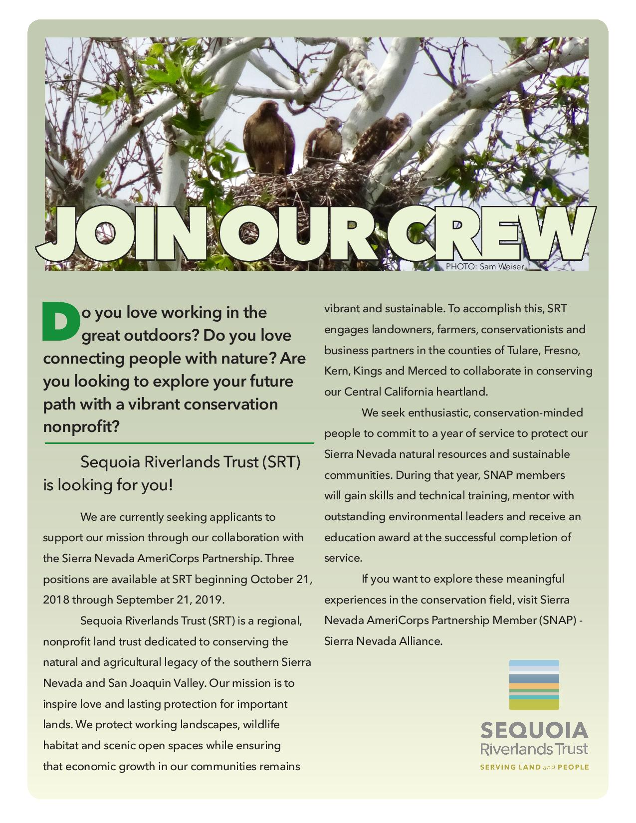 Join SRT's AmeriCorps crew!