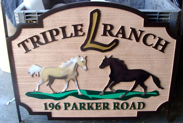 O24201 - Carved and Sandblasted HDU Entrance Sign for Triple L Ranch, with Two Stallions