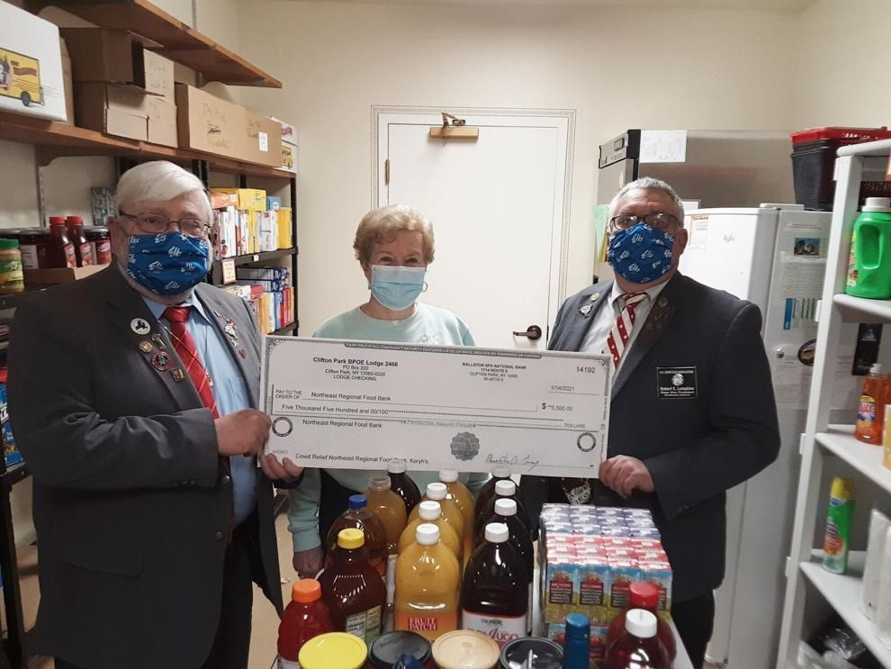 Donations from Clifton Park Elks to help with food insecurity