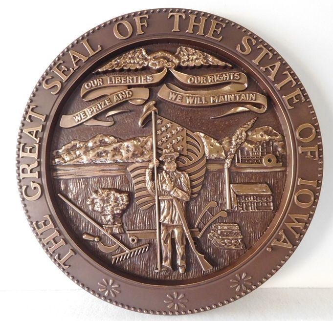 W32204- Carved 3-D Bronze-Plated HDU Plaque of the Great Seal of the State of Iowa