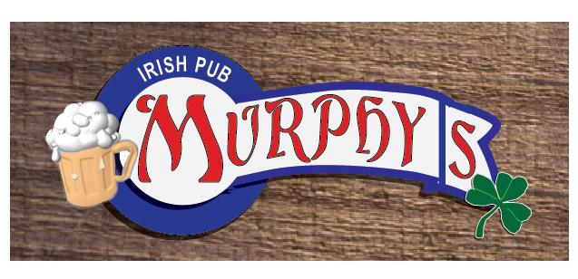 """RB27640 - Wood Irish Pub Sign """"Murphy's""""  with Shamrock and Mug of Stout"""