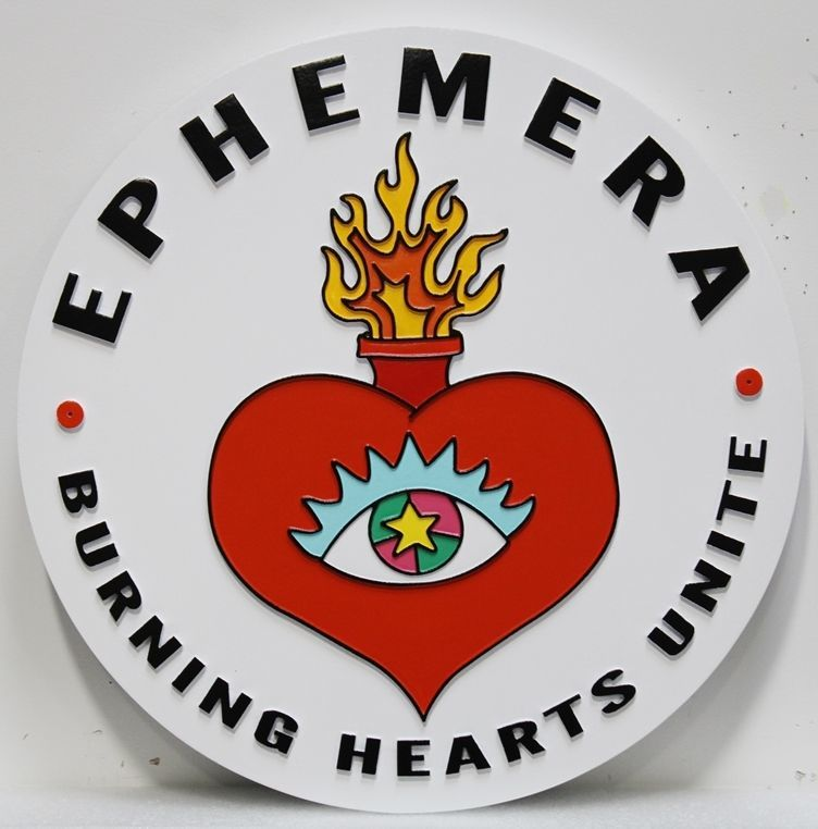 """UP-2167 - Carved 2.5-D Relief HDU Plaque of the Seal of Ephemera,""""Burning Hearts Unite"""""""