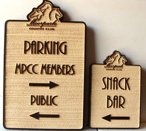 "E14224 - Carved and Sandblasted HDU Signs for Moorpark Country Club , ""Parking"" and ""Snack Bar"""