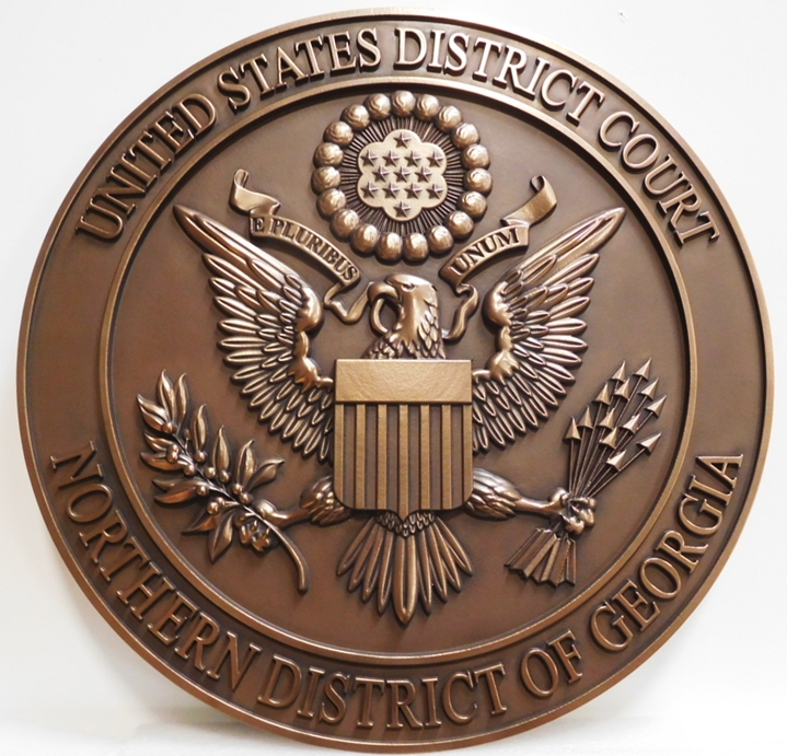 FP-1390 - Carved Plaque of the Seal of the US District Court, Northern District of Georgia