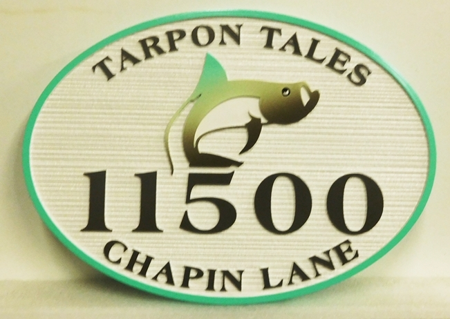 "L21379 - Carved and Sandblasted Seashore Residence Address  Sign, ""Tarpon Tales "", features  a  Carved 3-D Tarpon"