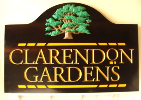 K20092 - Gold-Lettered 3D Wooden Apartment Entrance Sign with Carved Oak Tree