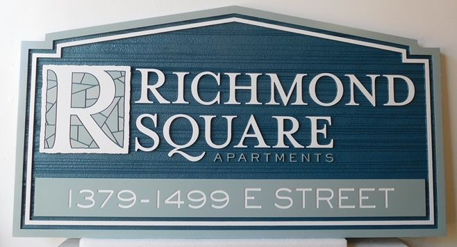 "K20117 - Carved HDU ""Richmond Square  "" Apartment Entrance Sign , with 2,5D Raised and Engraved Artwork and Sandblasted Wood Grain Background"