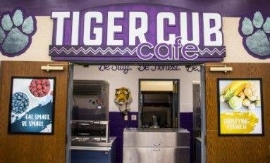 School Cafeteria main entrance showing 2 food images, color splash, food posters