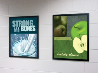 2 food posters in school hallway, food pictures, flip open frames, nutrition education, milk poster