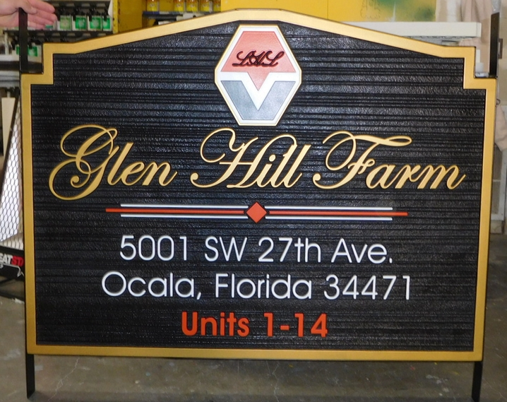 "O24047 - Carved and Sandblasted HDU Entrance Sign for the ""Glen Hill Farm"" Residential Development"