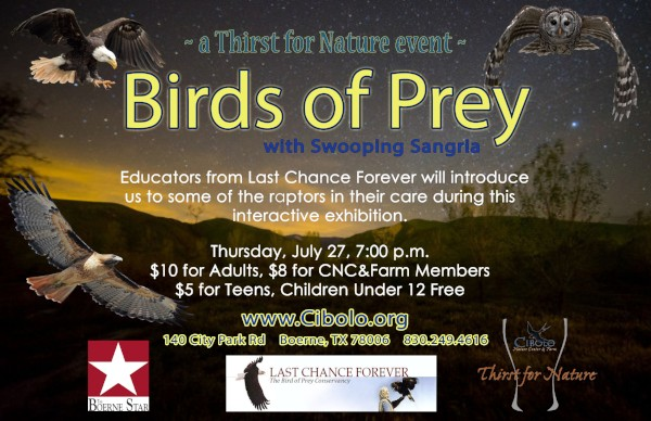 CNC: a Thirst for Nature event: Birds of Prey w/ Swooping Sangria