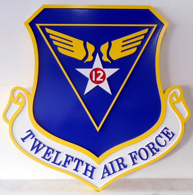 LP-1585 - Carved Shield Plaque of the Crest of the Twelfth Air Force, Artist Painted