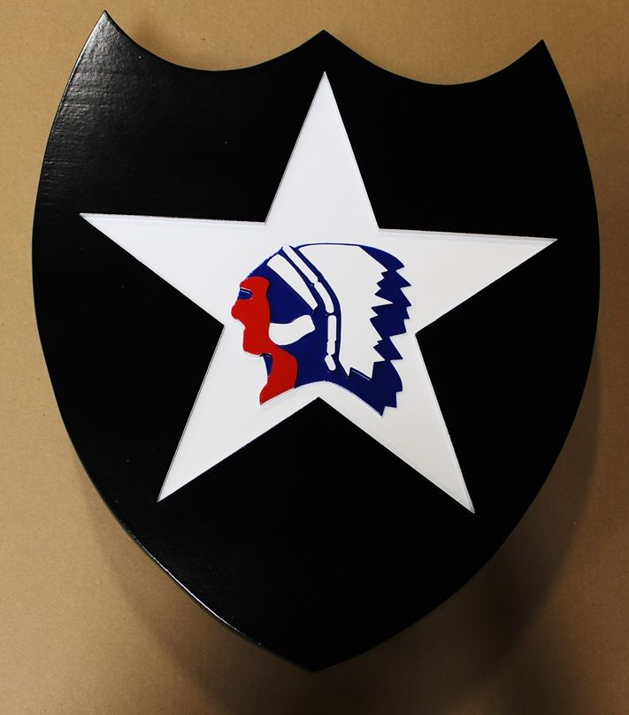 "MP-1436 - Carved Plaque of the Insignia of the 2nd Infantry Division of the US Army,  ""Indianhead"",  Artist Painted"