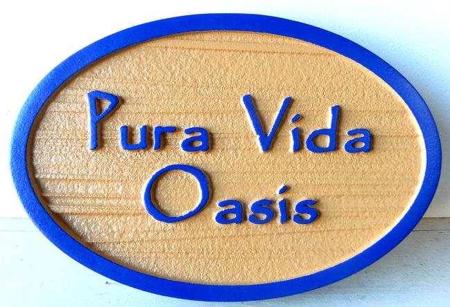 "I18399 - Carved and Sandblasted Property Name SIgn ""Pura Vida Oasis"""