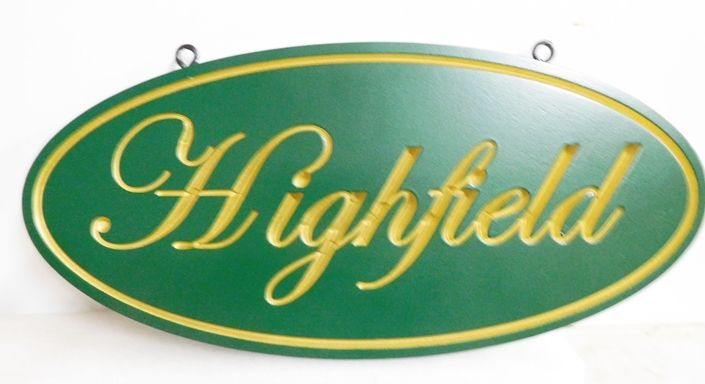 O24011A  - Elegant  Engraved HDU  Entrance Sign  for the Highfield  Farm, with Scripted Text